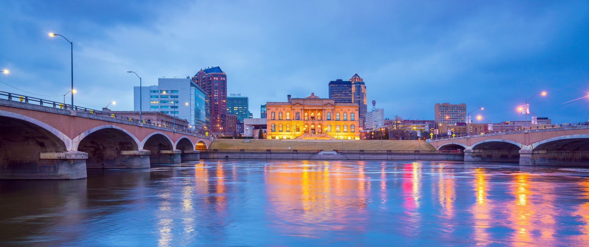 Des Moines Iowa at sunset