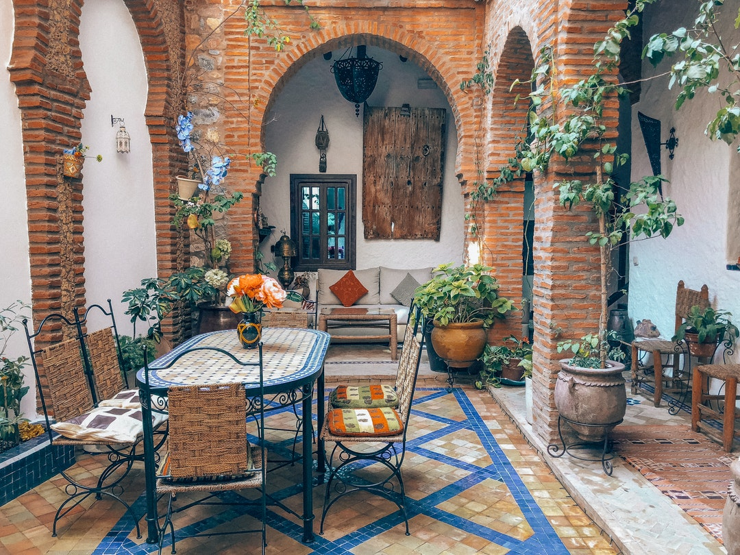 amazing patio with tile and furniture